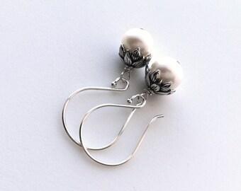 Pearl Earrings, Freshwater Pearl Flower Bud Earrings, Lotus Bud Pearl Earrings, Sterling Silver, Perfect Everyday Earrings