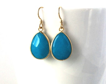 Turquoise Blue Gold Earrings, Faceted Teardrop Bright Blue turquoise, Bridesmaids Gifts