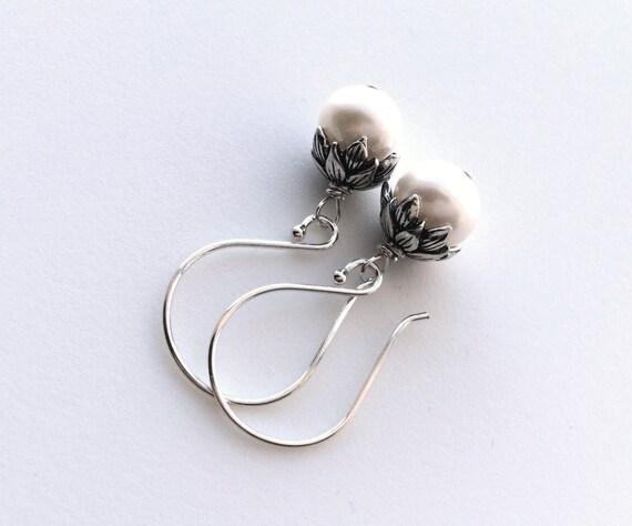 pearl earrings freshwater pearl flower bud earrings lotus