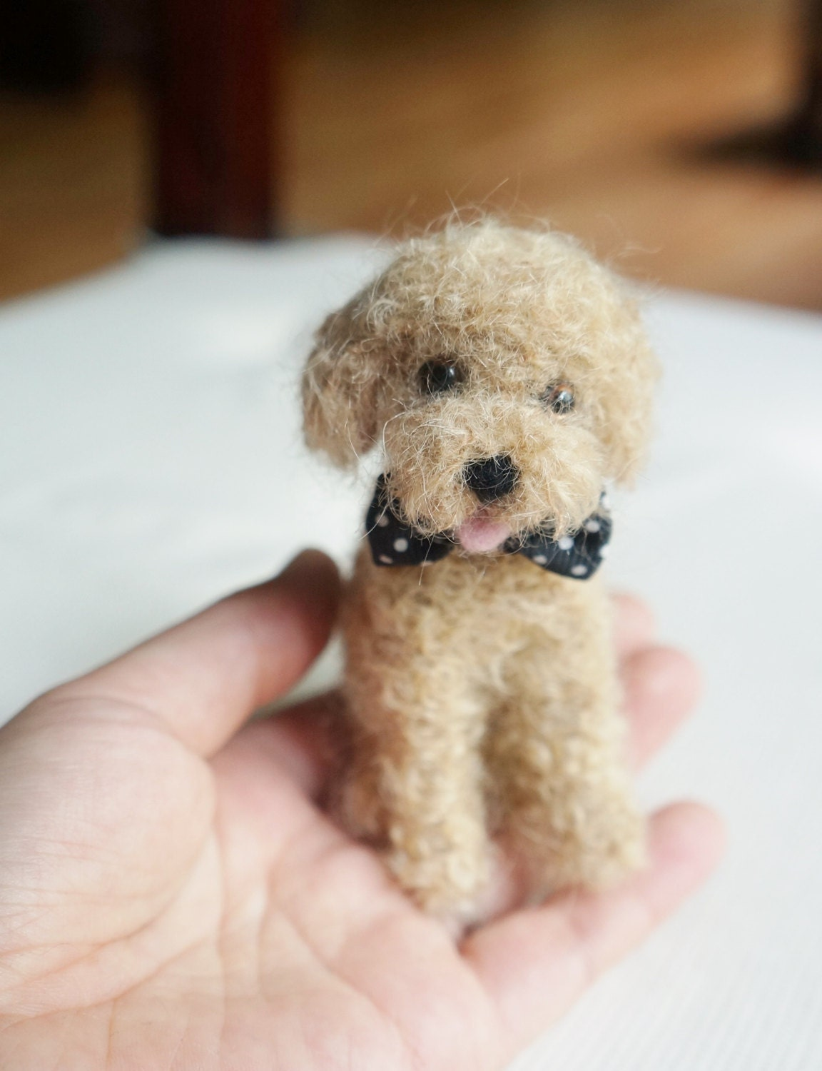 Toy Poodle Puppy Dogs : Needle felted poodle dog toy custom by