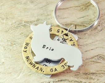 welsh corgi dog tag Personalized dog tag 3 piece Pet tag Pet Id Tag Hand stamped  custom Made with your Pets Name/phone number