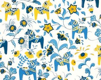 Scandinavian Swedish Dala Horses and Kurbits Flowers on White Fabric with Blue and Yellow Horses