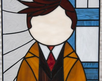 The Tenth Doctor - stained glass panel