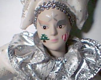 Beautiful Clown Doll in Silver