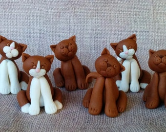 Set of 3 cat (kitty) -  fondant toppers