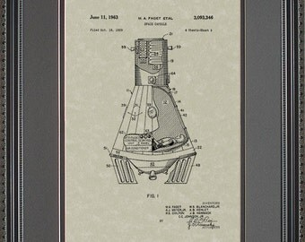 Space Capsule Patent Artwork Space Astronaut Gift F3346