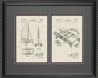 Catamaran Patent Artwork Sailing Boating Nautical Naval Navy Gift B7850-2
