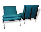 SALE 20% OFF Pair of Mid-Century Modern Blue Chairs or Edward Wormley Style Blue Sofa 1950s