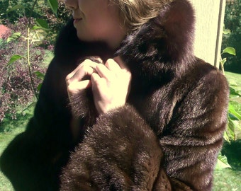 Vintage Classic Mink Coat with Sable Collar in Deepest Brown