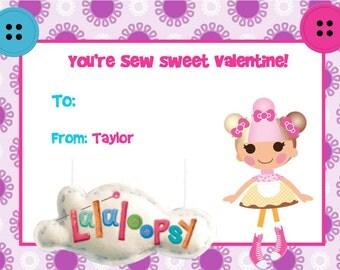 San Valentín tarjetas lalaloopsy muñeca niña botón Digital DIY