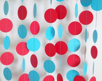 Paper Circle Garland Red & Aqua Blue Party Decor All Occasion Birthday  12'