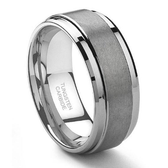 9mm tungsten carbide mens wedding band ring in by