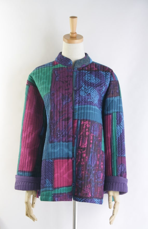 Bright Quilted Chinese Jacket Double Sided Quilt Jacket