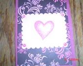 rectangular 5x7 mauve Valentine pink pearls man woman OOAK Handmade card
