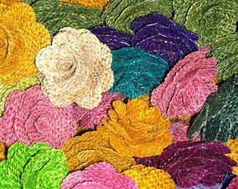 "Assorted Burlap Flowers - 2"" Diameter (x 12)"