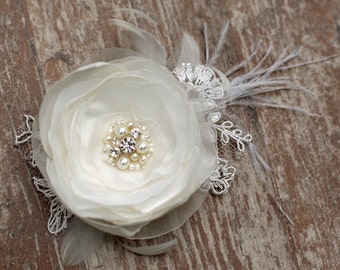 Ivory wedding hairpiece flower bridal hair accessories pearls wedding hair fascinator hair clip 3 inch flower, satin, pearl chiffon, feather