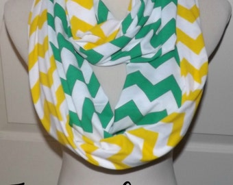 NEW!! Kelly Green and Yellow Chevron LONG 2 Pair Team Game Day Scarves Jersey Knit Infinity Scarves