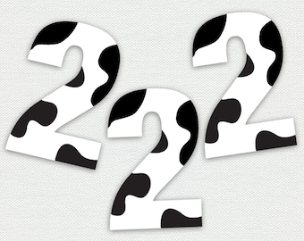 Printable Cupcake Toppers - Cow Print - Number Two - Farm Animal Birthday Party