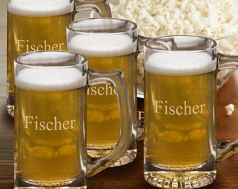 Personalized Beer Mug Set - Bar Glass Set - Groomsmen Gifts- Engraved Bar Glasses - RO175X4
