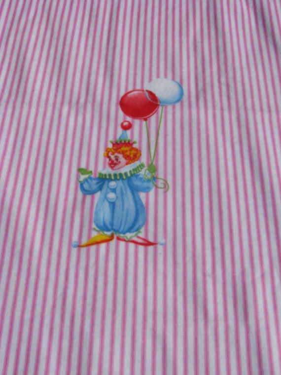 Vintage children fabric clown fabric sheet blanket for Vintage childrens fabric by the yard
