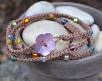 SALE Wrap Bracelet: Macramed Brown Hemp with Multicolored Beads