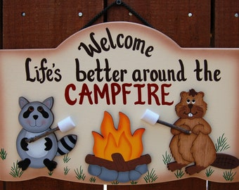 Personalized Wood Outdoor Camping Sign - Wildlife Critters