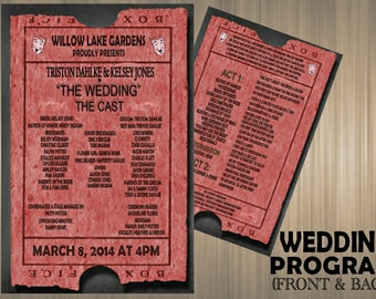 Theater Ticket Wedding Program-- Digital Download or Printed Option