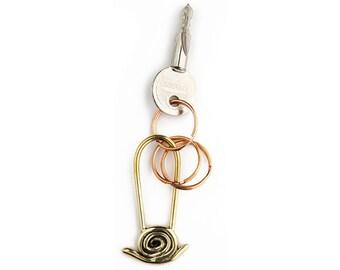 Snail keychain, Snail holder, Brass snail key ring, Animal keychain, Wildlife key chain, Snail gift, Snail key holder, Snail key chains.