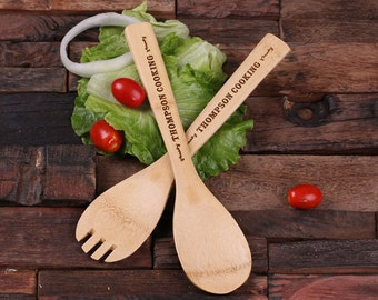 Personalized Bamboo Salad Spoons Monogrammed and Engraved (024236)