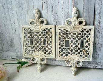 Antique White Double Light Switch Covers Pair Of Vintage