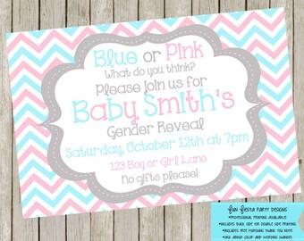 Baby Gender Reveal invitation - chevron