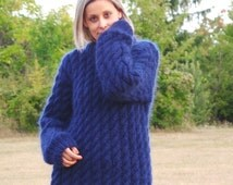 MADE to ORDER Cable Hand Knit Sweater Fuzzy Mohair Navy Blue Jumper Jersey Crewneck