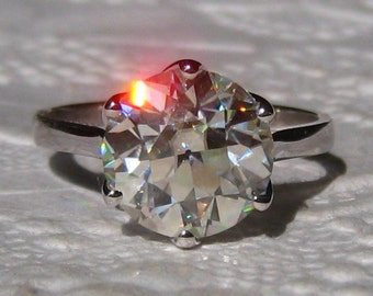 10mm Old European Cut (OEC) Moissanite in White Gold Lily Engagement Ring