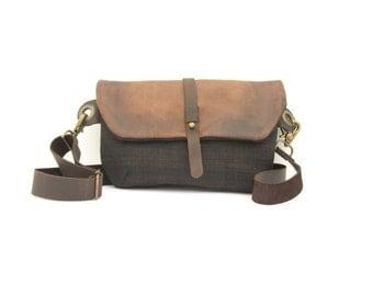 Travel Fanny Pack, Travel Crossbody Bag, Small Travel Bag, Black Canvas Pouch Bag, Black Fanny Pack, Black Travel Pouch, Brown Leather Pouch