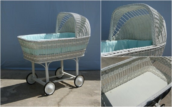 1940 S Vintage Bassinet In White Wicker Wheels And In