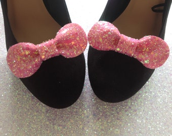 Candy Pink Glitter Bow Shoe Clips