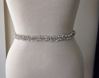 All Around Beading Bridal Belt Wedding Sash Crystal Dress Jeweled
