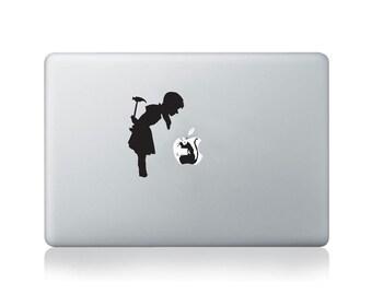 Banksy Girl Finds Rat Vinyl Decal for Macbook (13/15), Laptop or Guitar