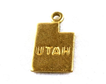 6x Brass Engraved Utah State Charms - M057-UT