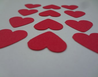 100 red paper hearts die cut 5/8 inches punch cutout confetti scrapbooking embellishments, wedding confetti, wedding