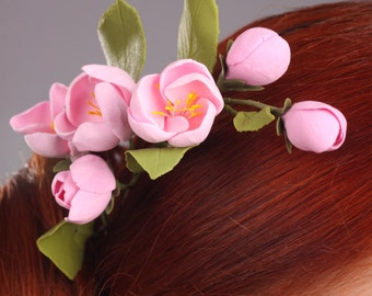 Hair clay flowers, hair decoration, hair accessories, pink apple flowers