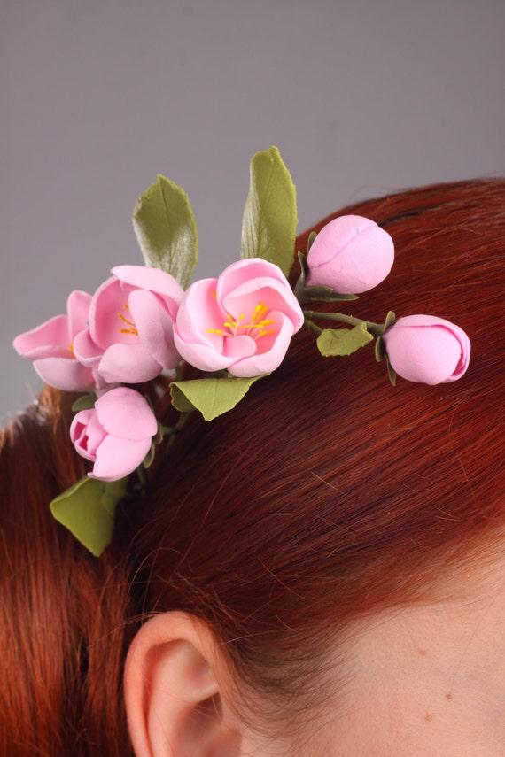 Hair clay flowers, hair decoration, hair accessories, pink apple flowers