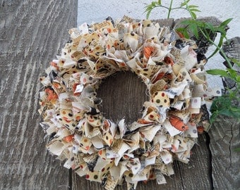 "6""  Halloween Mini Rag Wreath Wall Decor OOAK"