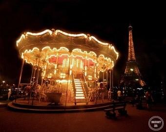 Carousel Nights, Fine Art Photography, Paris, France Photography, Photo Print, Fairy Light Photography, Paris Photography, Carousel Photos