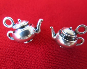 """5pc """"teacup"""" charms in antique silver style (BC415)"""