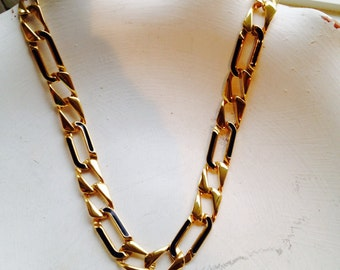 Vintage Monet Gold Chunky Link Necklace With Navy Accent