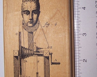 Stamp in the Hand ~ Turret Head Q1947 ~ Wooden Rubber Stamp ~ Collage ~ Scrap-booking ~ Card Making
