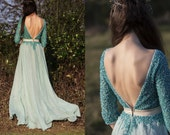 Special Sale -40% Turquoise long boho dress with sleeves