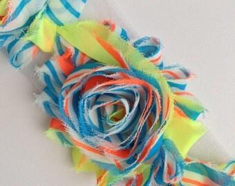 Shabby Rose Flower Trim--Bright Citrus and Blue Stripes