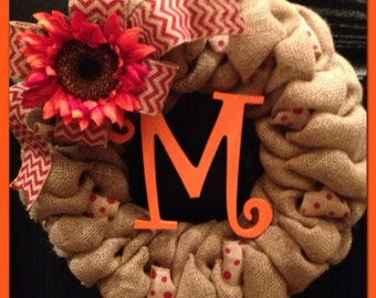 Chevron Burlap Wreath with Initial- Monogram Wreath- Fall Wreath- Front Door Wreath- Wedding Gift